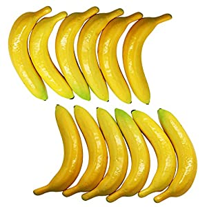 YOFIT Artificial Lifelike Simulation Yellow Banana 12 Pcs, Fake Fruit for Home House Kitchen Party Decoration 119