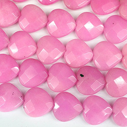 Pink Jade Heart Beads - 3