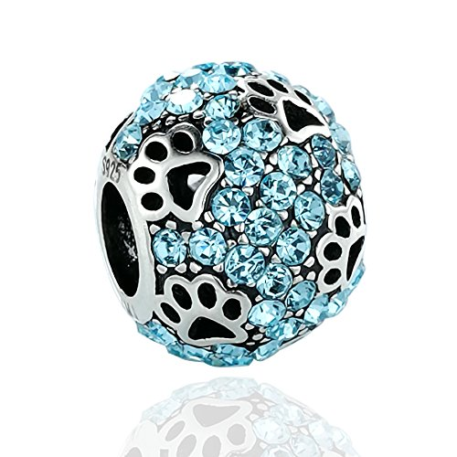 Paw Pet Charms - AMATOLOVE for Mom Dog Paw Print 925 Sterling Silver Charms Animal Pet Bead for Bracelets 6 Style (Sea Blue)