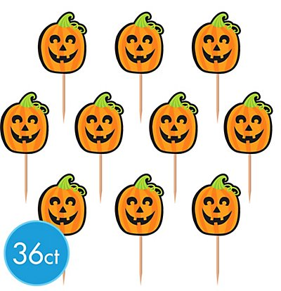 Halloween Jack-O-Lantern Cupcake Party Picks ~ Pack of 36 Picks]()