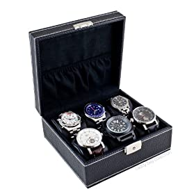 Caddy Bay Collection Contemporary Compact Black Watch Display Storage Case Chest With White Stitching Holds 6 Watches With Soft Adjustable Pillows