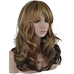 eNilecor 3 Tones Blonde Mixed Wigs 20 Inch Medium Long Curly Full Natural Women Heat Resistant Synthetic Highlights Hair Custom Party Wig with Side Bangs+ Wig Cap