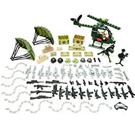 Brick War Helicopter Strike 163 PCS Army Accessories Set Military Building Blocks Toy Figure Accessories Set Lego Brickarms Weapons Compatible Major Brands Boys Gifts