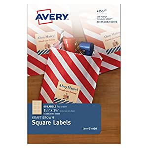 Avery Kraft Brown Square Labels, 1-1/2 x 1-1/2 Inches, Pack of 60 Labels (41567)