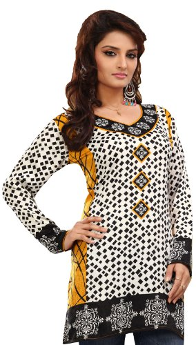 Long India Tunic Top Womens Kurti Printed White Blouse Indian Clothing – S…Bust 34 inches, White 4