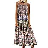 Aniywn Women Vintage Floral Print Maxi Dress Bohemian Spaghetti Straps Plus Size Dress Sleeveless Dresses Pink