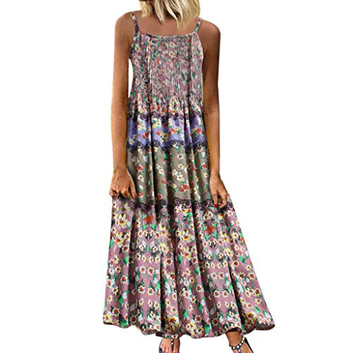 (Aniywn Women Vintage Floral Print Maxi Dress Bohemian Spaghetti Straps Plus Size Dress Sleeveless Dresses Pink)