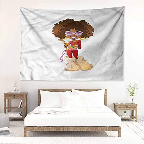Sunnyhome DIY Tapestry,Black Woman Seventies Style Outfit,Literary Small Fresh,W60x40L -