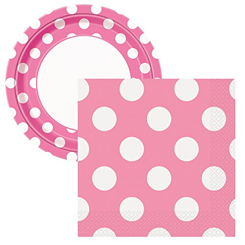 Elegant Entertaining Hot Pink Polka Dot Party Tableware Plate and Napkin Set Serves 16 -