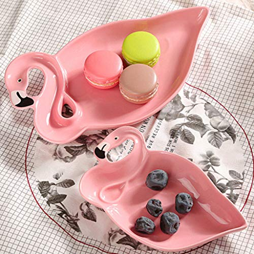 (Bazzano Pink Flamingo 3D Ceramic Dried Fruit Plate Snacks Candy Plates Dishes Unique Tray)