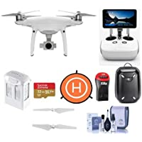 DJI Phantom 4 Pro+ Quadcopter Drone with 5.5in FHDScreen Remote Controller - Bundle With 32GB MicroSDHC Card, Hardshell Backpack, Intelligent Battery, Propellers, Drone Landing Pad, And More