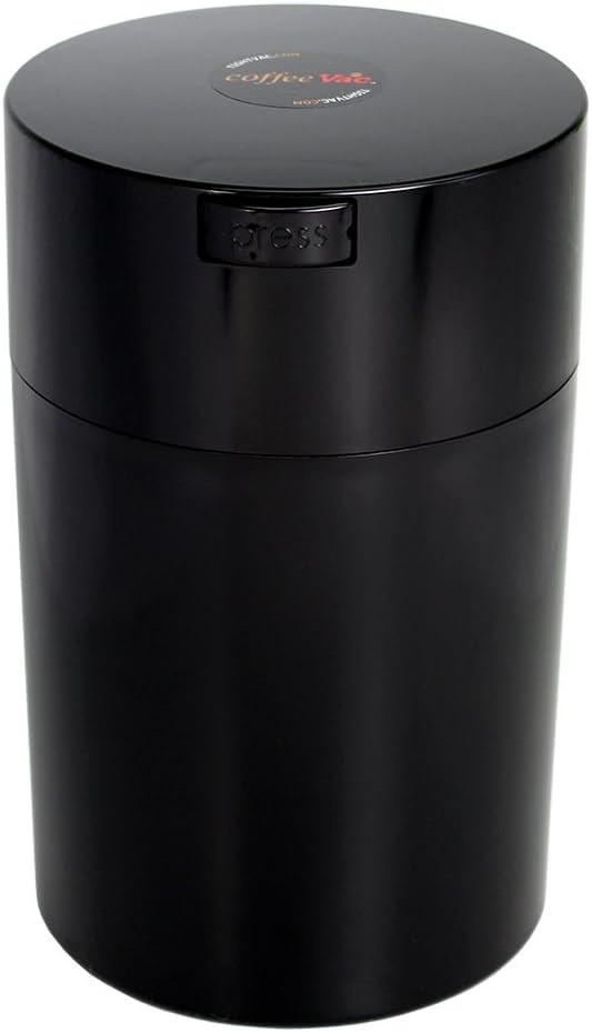 Tightpac America, Inc. Contenedor de café Sellado al vacío Coffeevac 450 g, plástico, Black Cap & Body, 1.85-Liter/1.6-Quart