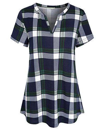 Vintage Blouses,Women Notched Collar Split V Neck Short Sleeve Tunic Tops Versatile Retro Pleated Front Curved Hem Hipster Baggy Fashion Office Casual Fit Tshirt Daily Wear Green L