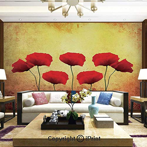 (Lionpapa_mural Self-Adhesive Large Wallpaper Better Designs for Living Room,Poppies on an Old Aged Retro Featured Backdrop Design Past Days Drama Petals Artprint,Home Decor - 100x144 inches)