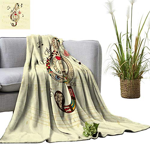 YOYI Soft Blanket Microfiber Musical backgroun Treble Clef Easy Travel 60