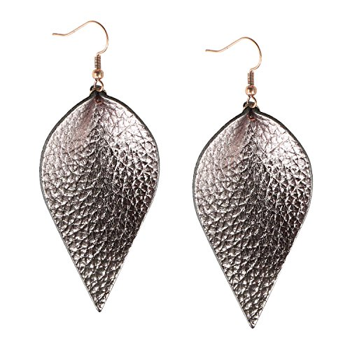 Womens Genuine Leather Earrings Metallic Gunmetal Leaf Leather Diffuser Earrings Dangle Drop Antique Earrings