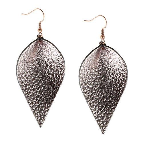 Gray Genuine Earring - Womens Genuine Leather Earrings Metallic Gunmetal Leaf Leather Diffuser Earrings Dangle Drop Antique Earrings