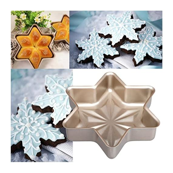 Gessppo Non-Stick Snowflake Shape Cake Mold Steel Pan Bun Bread Mould Kitchen Bakeware Resistant High Temperature, Reusable and Durable 3 ❤❤Quantity:1pc-----Material:Carbon Steel-----Size :21.2x21.2x5cm-----Color:gold-----Package Include:1pc cake mold ❤️❤️12 Cup Silicone Muffin - Cupcake Baking Pan / Non - Stick Silicone Mold / Dishwasher - Microwave Safe; 2Packs Silicone Mini Muffin Pan, Silicone Molds for Muffin Tins, Cupcake Baking Pan (Red);Ware Platinum Collection Heritage Bundt Pan ❤️❤️Reusable Silicone Baking Cups, Pack of 12; Silicone Cake Mold Magic Bake Snake-DIY Baking Mould Tool Design Your Pastry Dessert with Any Pan Shape, 4 PCS/lot Nonstick Flexible Reusable Easy to Use and Wash, Perfect Gift Idea for Your Love