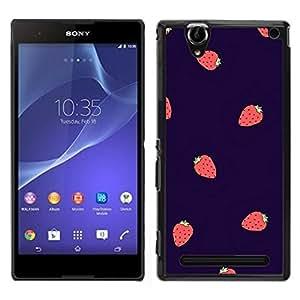Fraise Baies été Violet Rouge - Metal de aluminio y de plástico duro Caja del teléfono - Negro - Sony Xperia T2 Ultra