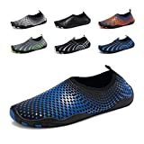 Men Barefoot Quick-Dry Water Sports Women's Aqua Shoes Drainage Holes Swim, Walking, Yoga, Lake, Beach, Garden, Park, Driving(Black/Blue)
