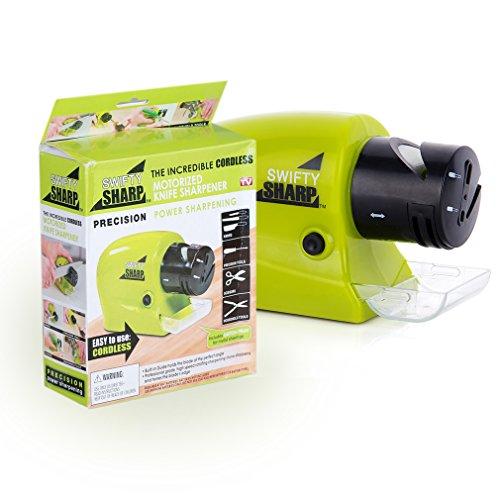 Anten® Multifunktions Elektrisch Messerschärfer Messerschleifer mit 2 Stufen für Schere Messer Schraubendreher(Grün)