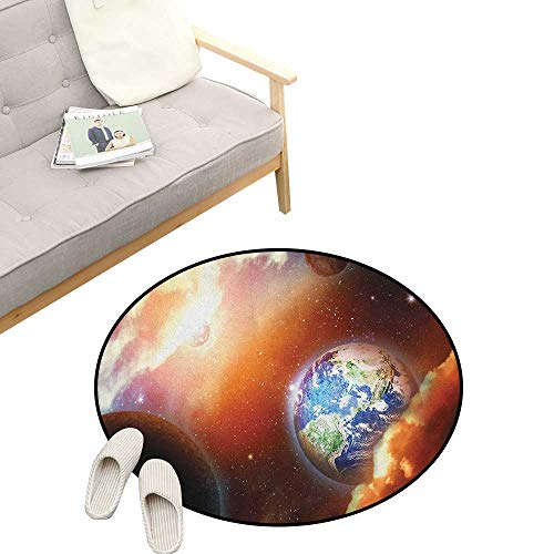 Space Kids Round Rug ,Dust Cloud Nebula Stars in Solar System Scene with Planet Earth Pluto and Neptune, Sofa Living Room Bedroom Modern Home Decor 23