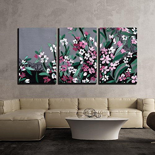 wall26 - 3 Piece Canvas Wall Art - Hand Drawings on Cloth - Modern Home Decor Stretched and Framed Ready to Hang - 24