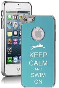 Apple iPhone 5 5S Light Blue 5E1340 Aluminum Plated Chrome Hard Back Case Cover Keep Calm and Swim On Swimmer