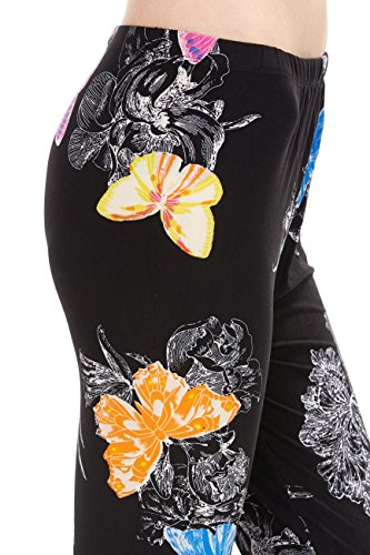 ED Women's Flower Pattern Series Print Leggings - Butterfly Floral