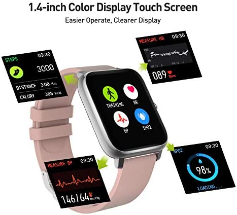 """Smart Watch, 1.4"""" Touch Screen Smartwatch,Fitness Tracker with Heart Rate Monitor, Sleep Monitor, Bluetooth Camera Music Control Smart Watch for Men Women 2"""