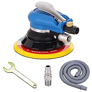 "Anesty 6"" Air Random Orbital Sander, Dual Action Pneumatic Orbit Polisher Pro Grinding Sanding Tools with Vacuuming(Needed Air Compressor)"