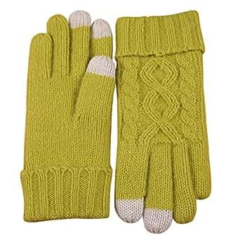 ELMA Women's Wool Knitted Winter Gloves Mittens Super Warm