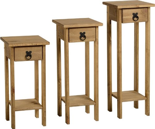 Seconique Corona Plant Stands Distressed Waxed Pine 279.95x809.95x94.95 cm Set of 3