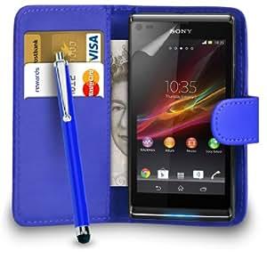 123 Online Sony Xperia L Azul Cartera de cuero del caso del tirón de la cubierta Pouch + Grandes Touch Pen Stylus + Protector de pantalla y paño de pulido