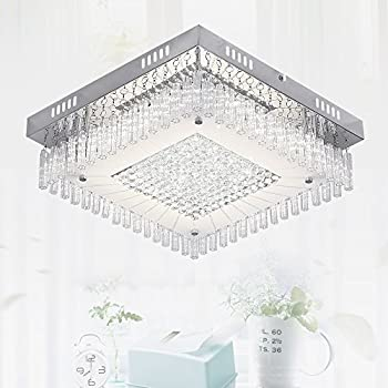 Flush Mount Ceiling Light Lamp Pendant 1980 High Lumens 18W Bright Enough Chandelier LED Dimmable Contemporary Square Glass Crystal