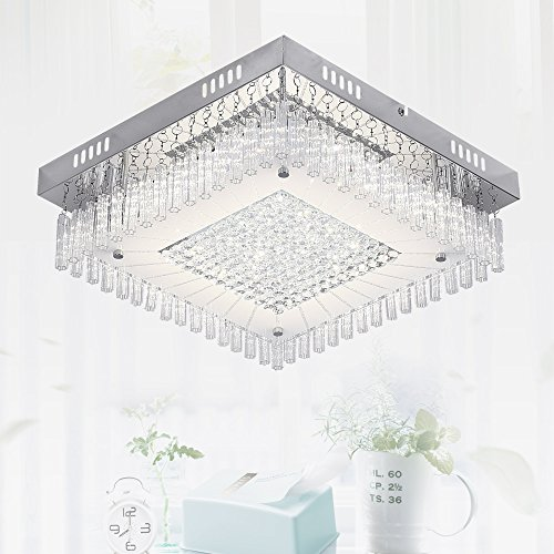 Crystal LED Ceiling Square Light,Auffel Flush Mount LED Light Fixtures Raindrop Dimmable 11 Inch 4000K 1320LM Glass+Metal+Crystal Ceiling Decorations Chandelier for Kitchen,Bathroom,Bedroom,Hallway