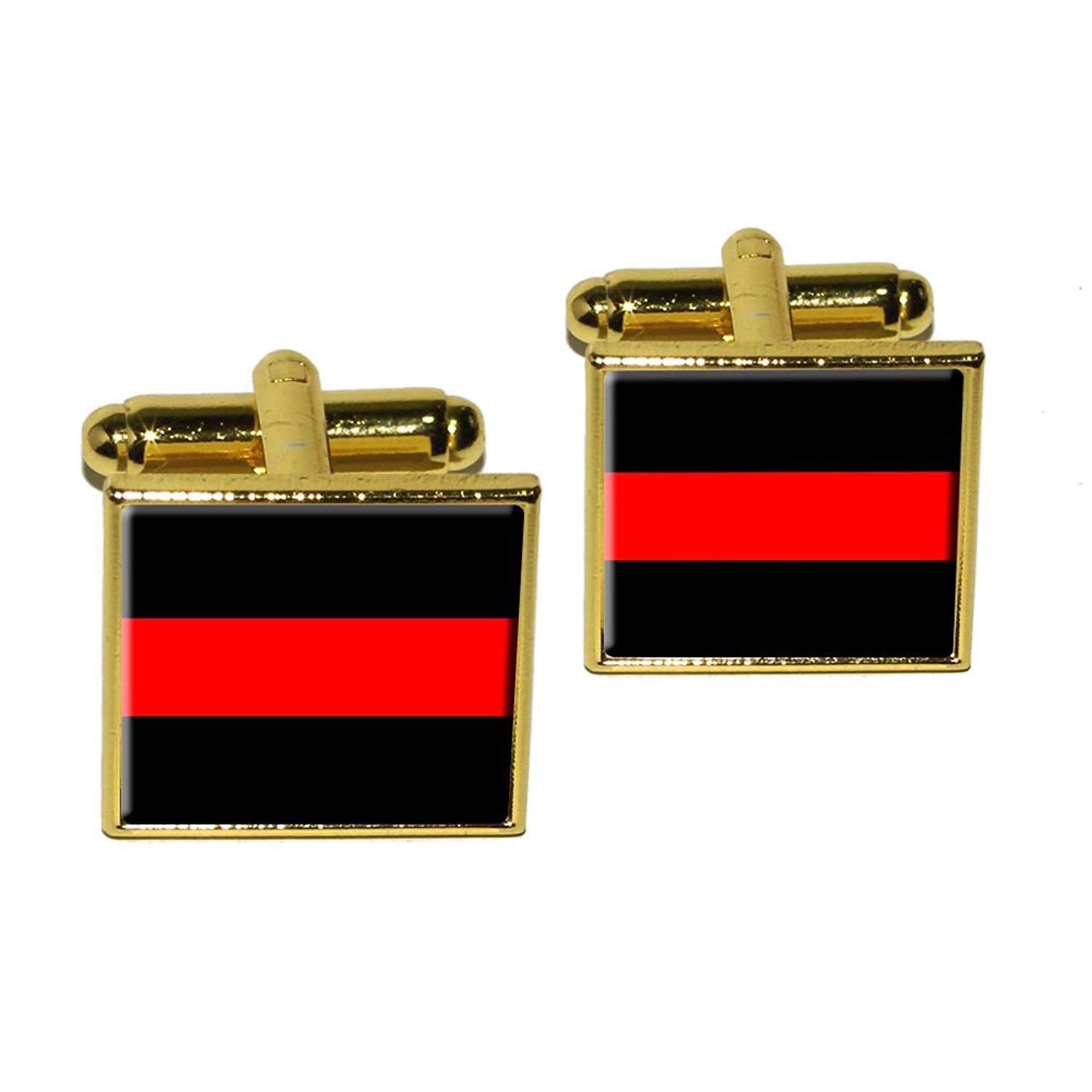 Graphics and More Thin Red Line Firefighters Square Cufflink Set - Gold