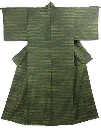 展開する堤防月面リサイクル 着物 紬 袷 正絹 横縞模様 裄62cm 身丈158cm