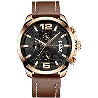 CUENA Watch Men Leather Waterproof Quartz Wrist Watch Business Stainless Steel Sport Classic Stopwatch