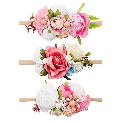 Baby Girl Flower Nylon Headband-Elastic Hair Band Handmade Bow For Newborn Infant Toddler Pack of 3 ()
