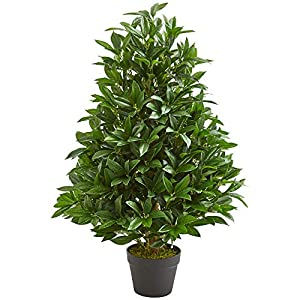 Nearly Natural 9132 3-Ft. Bay Leaf Artificial Topiary UV Resistant (Indoor/Outdoor) Silk Trees Green 68