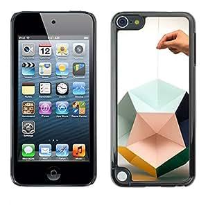For Apple iPod Touch 5 Case , Paper Art Hand Deep Design - Diseño Patrón Teléfono Caso Cubierta Case Bumper Duro Protección Case Cover Funda