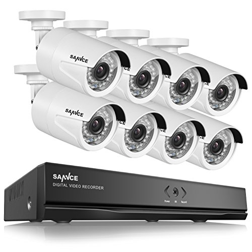 Price comparison product image SANNCE Full HD 1080p PoE Security Camera System and Eight 2.0 Megapixel Outdoor Surveillance IP Cameras,  8CH NVR,  NO HDD,  100ft Night Vision,  Power Over Ethernet