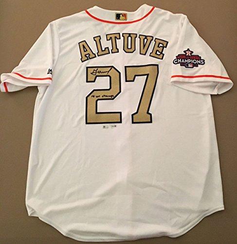 JOSE ALTUVE Signed/Inscribed 17 WS Champs Gold Program Astros Jersey FANATICS