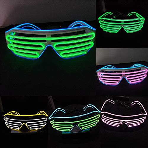 Glumes Led Light Up Neon Plastic Shutter Glasses - 1 PCS Festival Rave Sunglasses Save Glow Flashing Shades Party Favors for Kids and Adults Batteries not Included