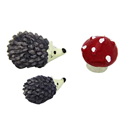 ULTNICE Miniature Ornaments Kit for DIY Fairy Garden Dollhouse Decoration 3Pcs Fairy Garden Micro Landscape Accessories (Hedgehog and Mushroom): Arts, Crafts & Sewing