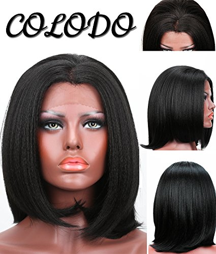 COLODO Yaki Straight Short Style Bob Free Part Synthetic Lace Front Wigs for Women Black Color Heat Resistant Fiber (70s Womens Hairstyles)