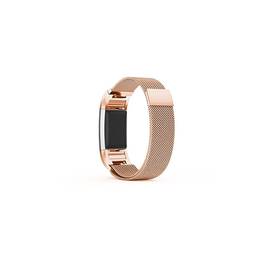 TreasureMax for Fitbit Charge 2 Bands, Stainless Steel Metal Replacement Accessory Bracelet Band for Fitbit Charge 2