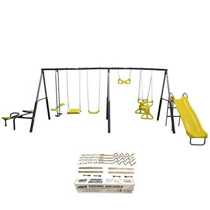 Amazon Com Xdp Recreation Rising Sun Kids Metal Swing Set Anchor
