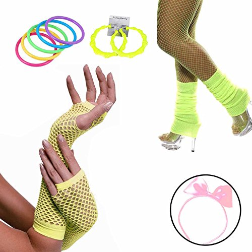 80s Accessories Women Fancy Outfit Set,Headband,Earrings,Gloves,Bracelets,Fishnet,Leg Warmers (Neon Yellow)